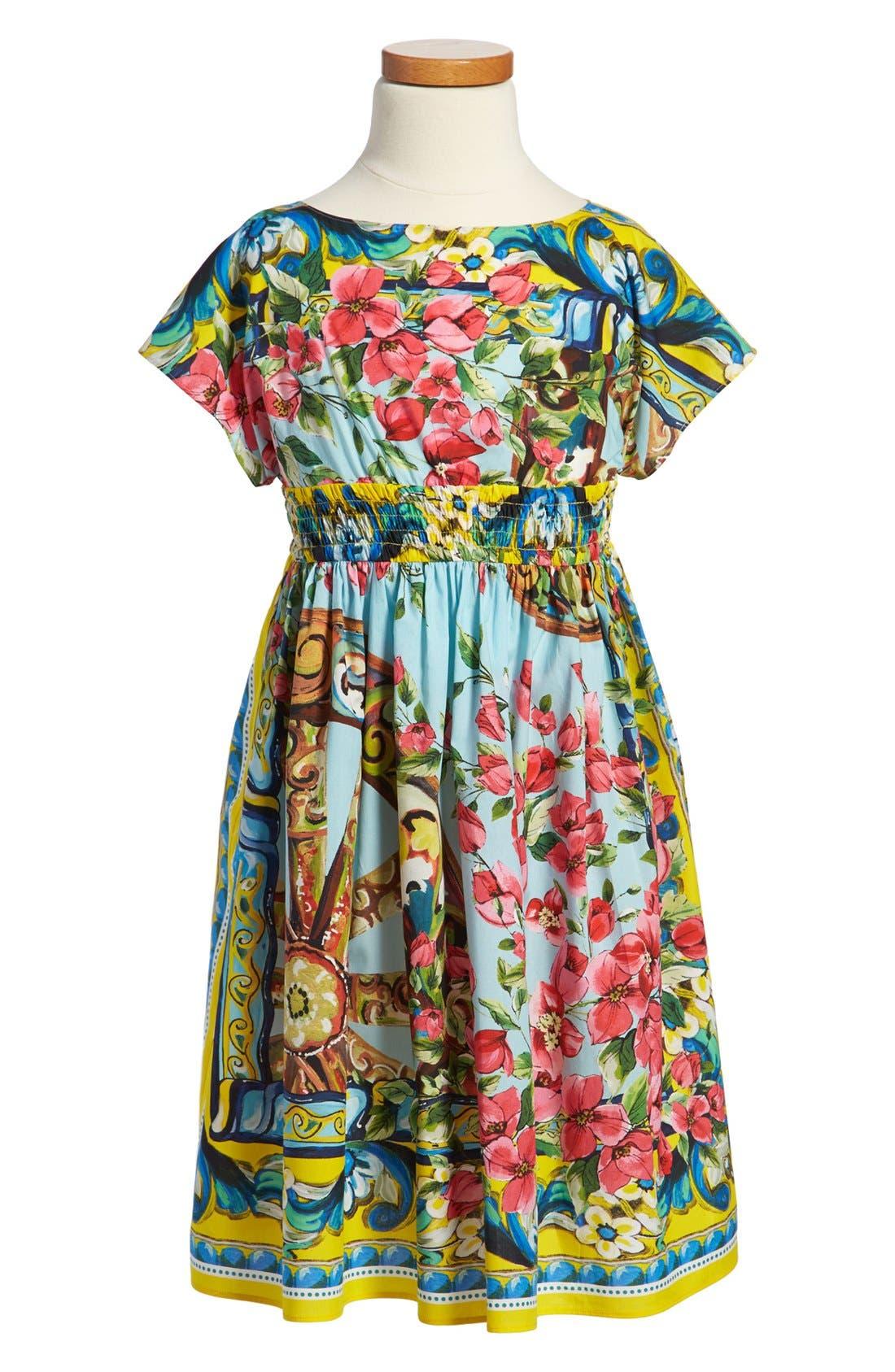Main Image - Dolce&Gabbana Floral Print Poplin Dress (Toddler Girls, Little Girls & Big Girls)