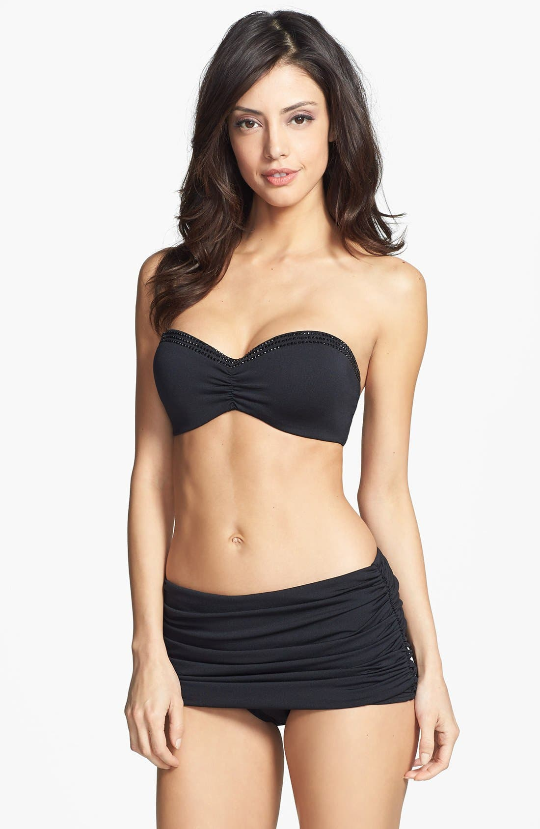 Carmen Marc Valvo 'Cape Town Beach' Shirred Skirted Bikini Bottoms,                             Alternate thumbnail 3, color,                             Luxe Black