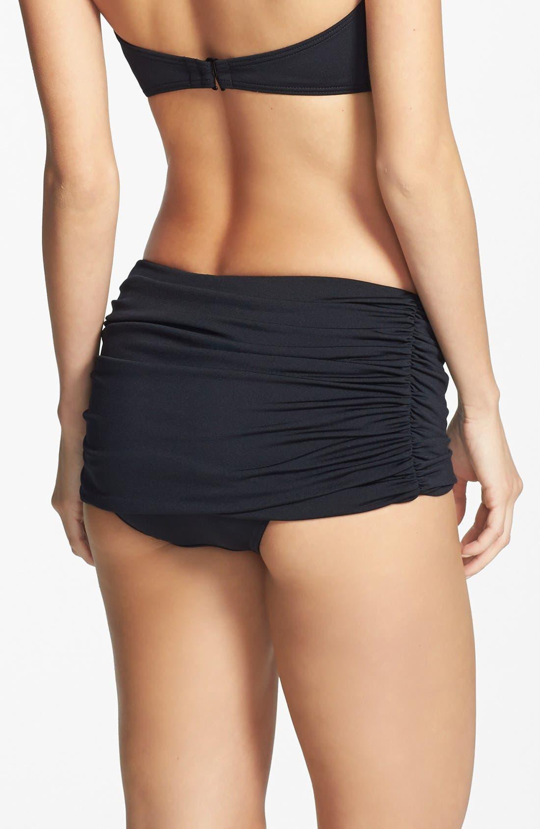 Carmen Marc Valvo 'Cape Town Beach' Shirred Skirted Bikini Bottoms,                             Alternate thumbnail 2, color,                             Luxe Black