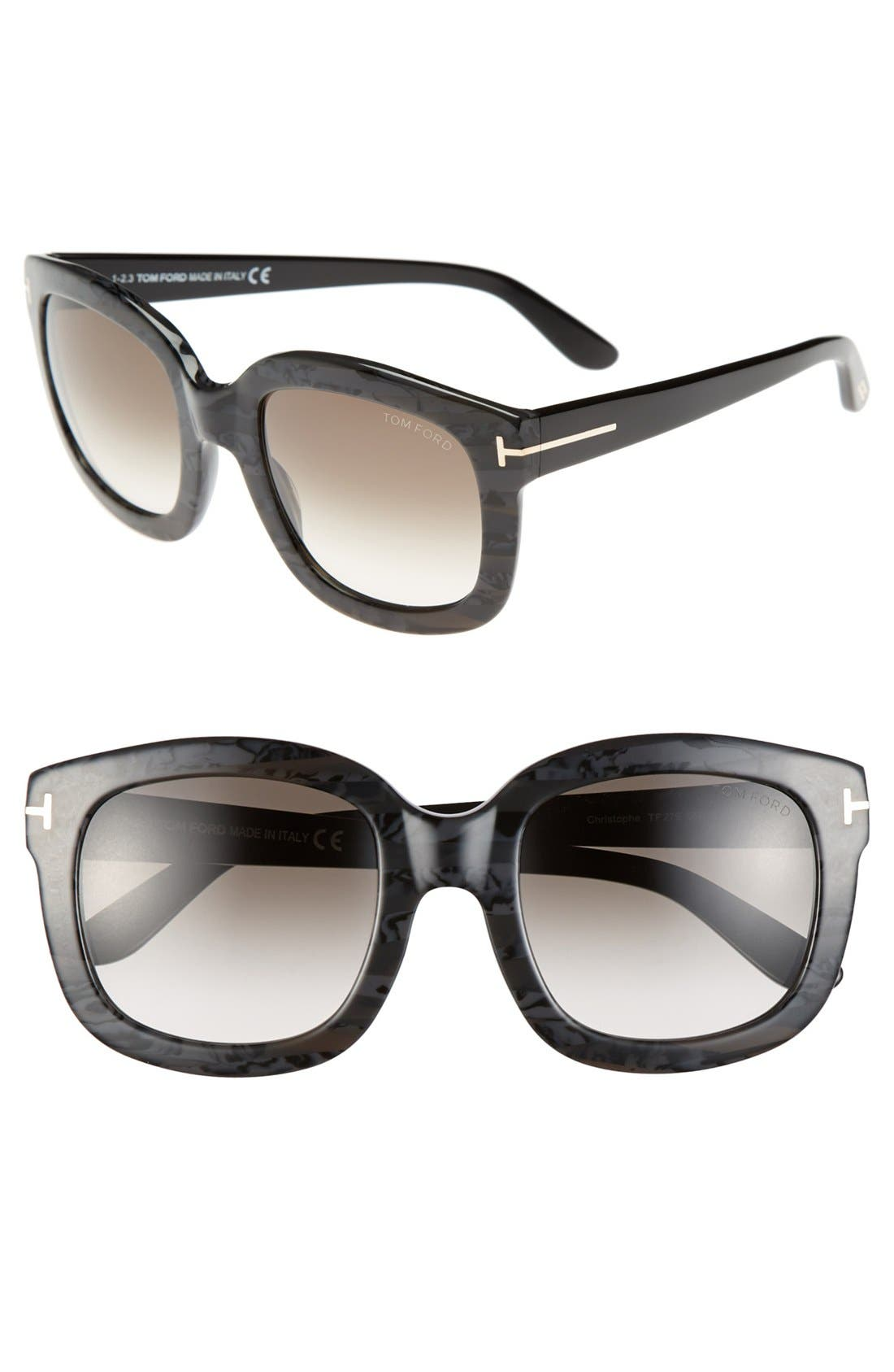 'Christophe' 53mm Sunglasses,                         Main,                         color, Stripped Marble Black