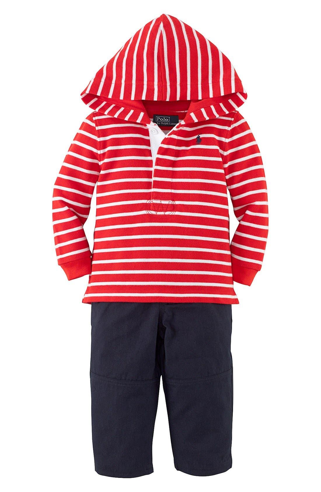 Alternate Image 1 Selected - Ralph Lauren Hooded T-Shirt & Woven Pants (Baby Boys)