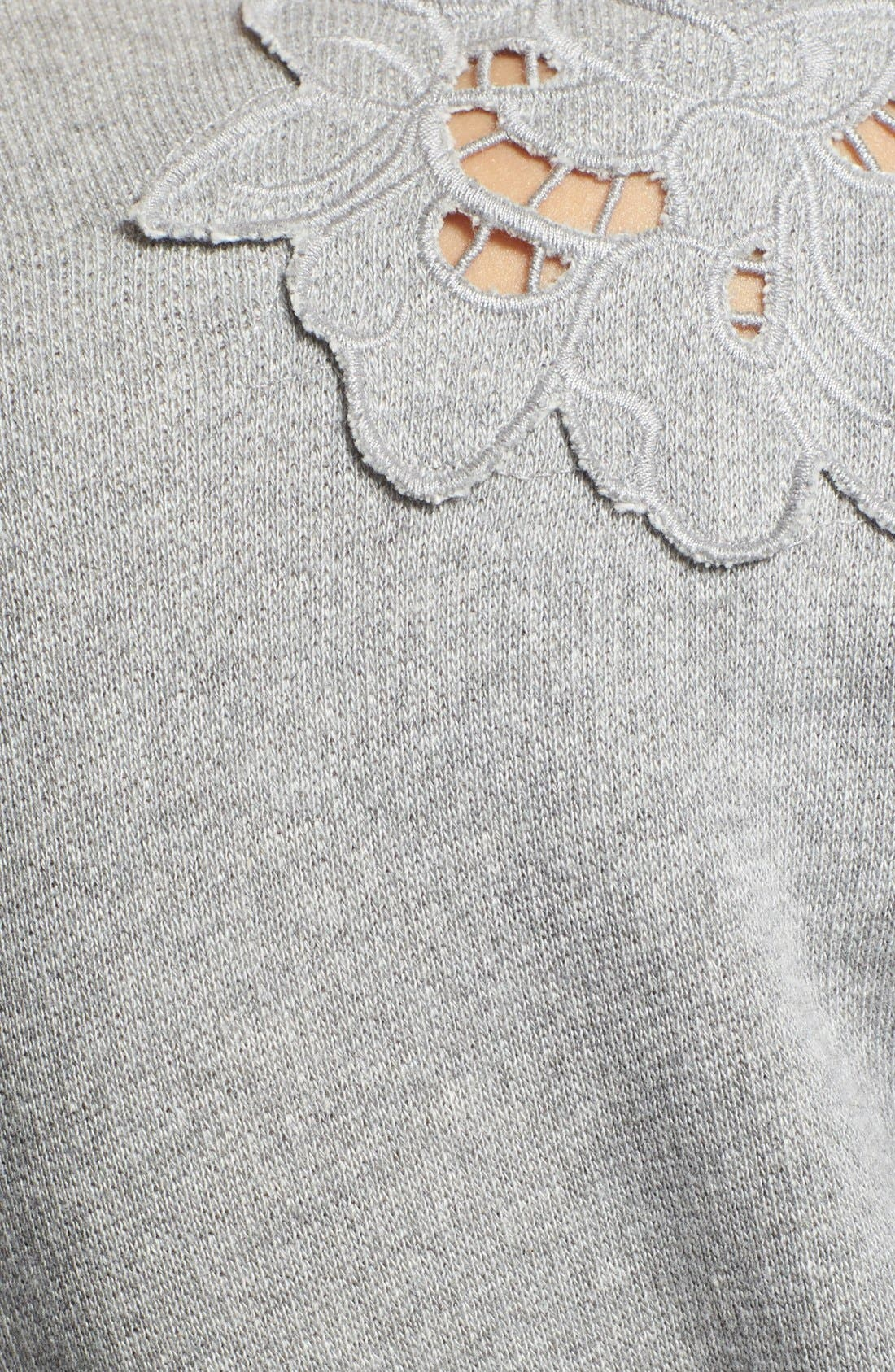 Alternate Image 3  - Rebecca Taylor Floral Cutout Crop Sweatshirt