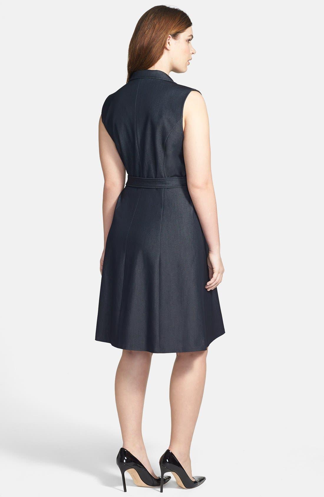 Alternate Image 2  - Calvin Klein Sleeveless Tie Waist Shirtdress (Plus Size)
