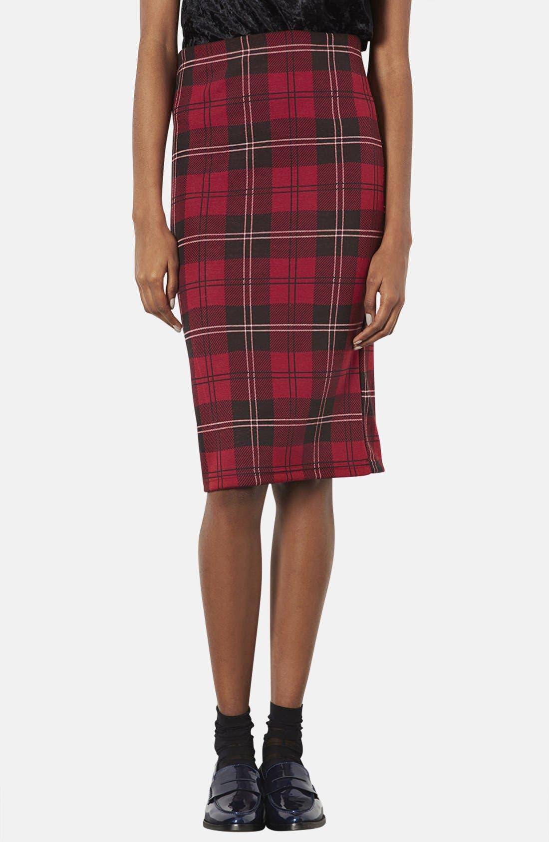 Plaid Tube Skirt,                         Main,                         color, Red