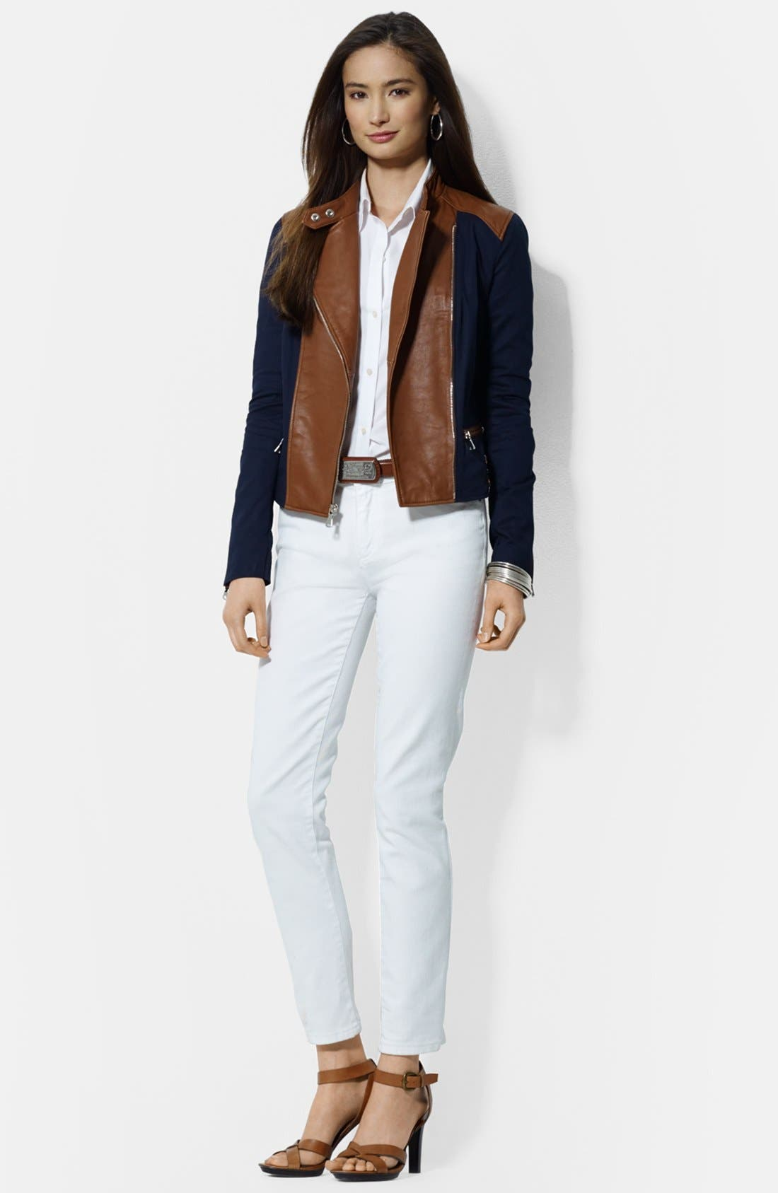 Alternate Image 3  - Lauren Ralph Lauren Asymmetrical Two-Tone Cotton & Leather Moto Jacket