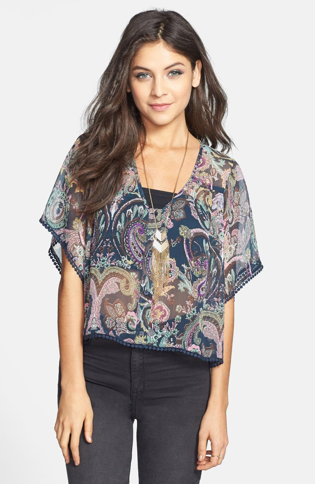 Main Image - Band of Gypsies Crochet Trim Print Chiffon Top (Juniors)