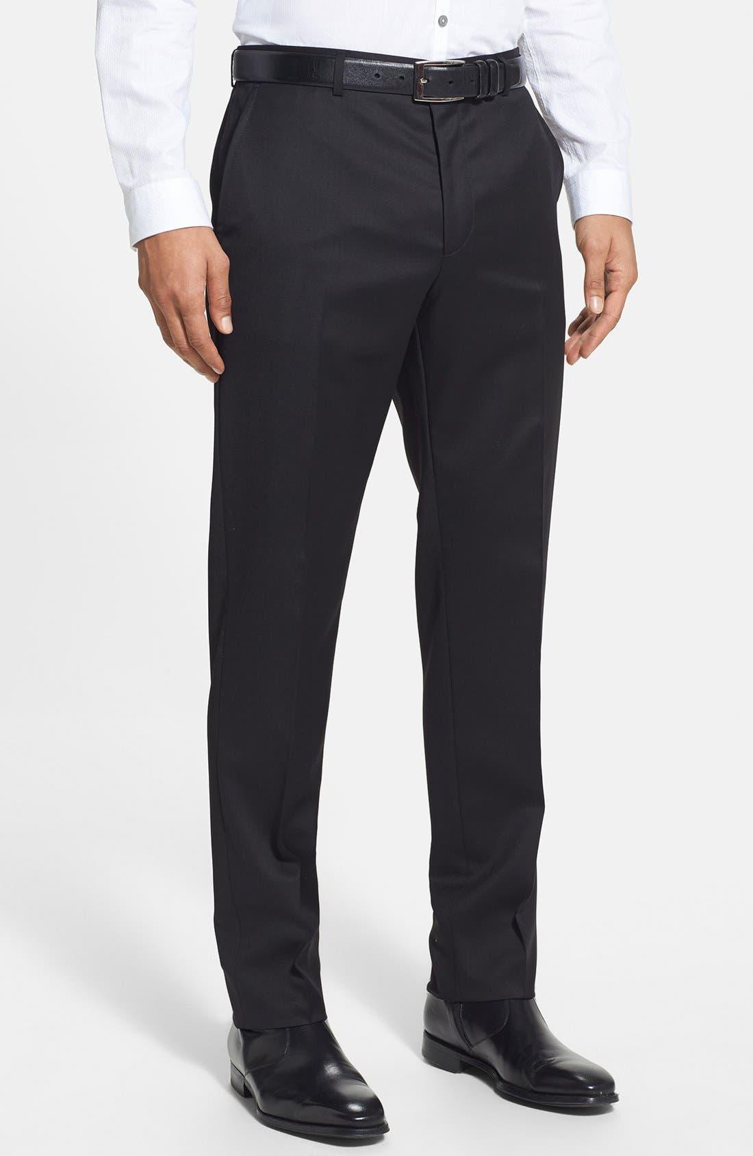 Alternate Image 5  - HUGO 'Aeron/Hamen - Super Black' Extra Trim Fit Wool Suit