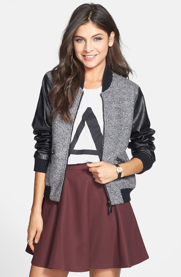 Cecico Faux Leather Sleeve Bouclé Bomber Jacket (Juniors) | Nordstrom