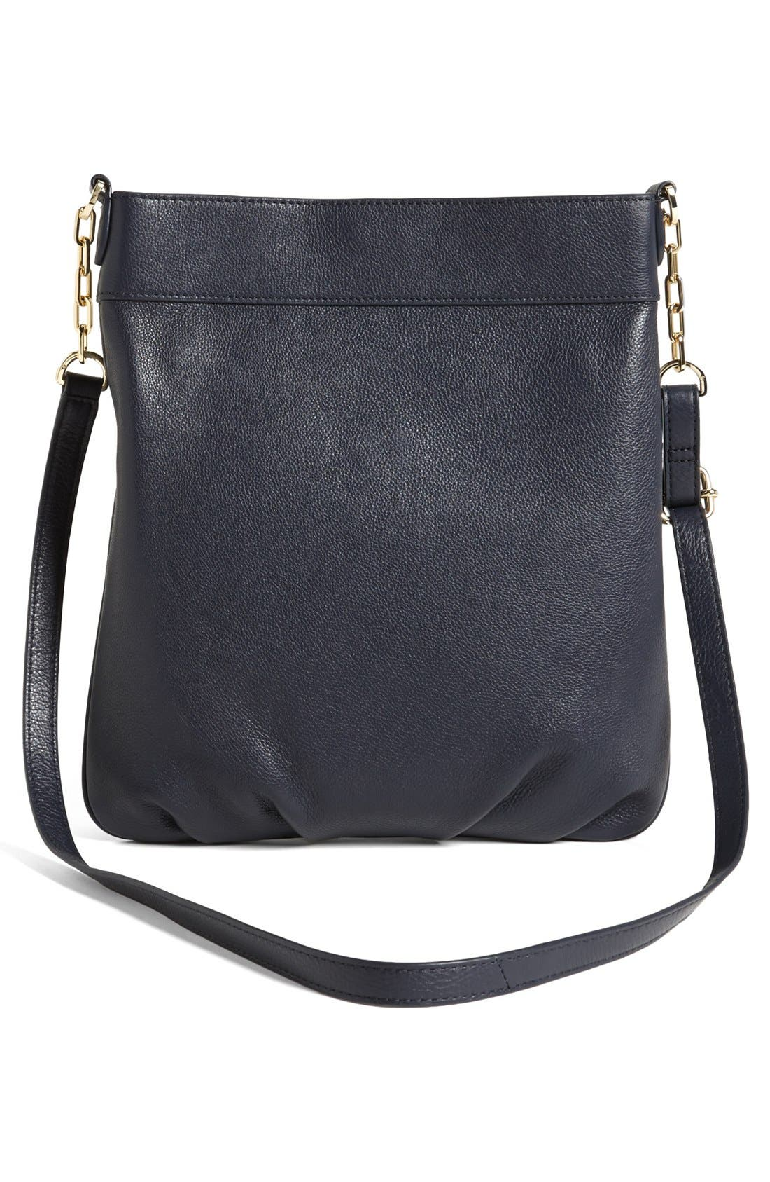 'Stacked T' Leather Book Bag,                             Alternate thumbnail 4, color,                             Tory Navy