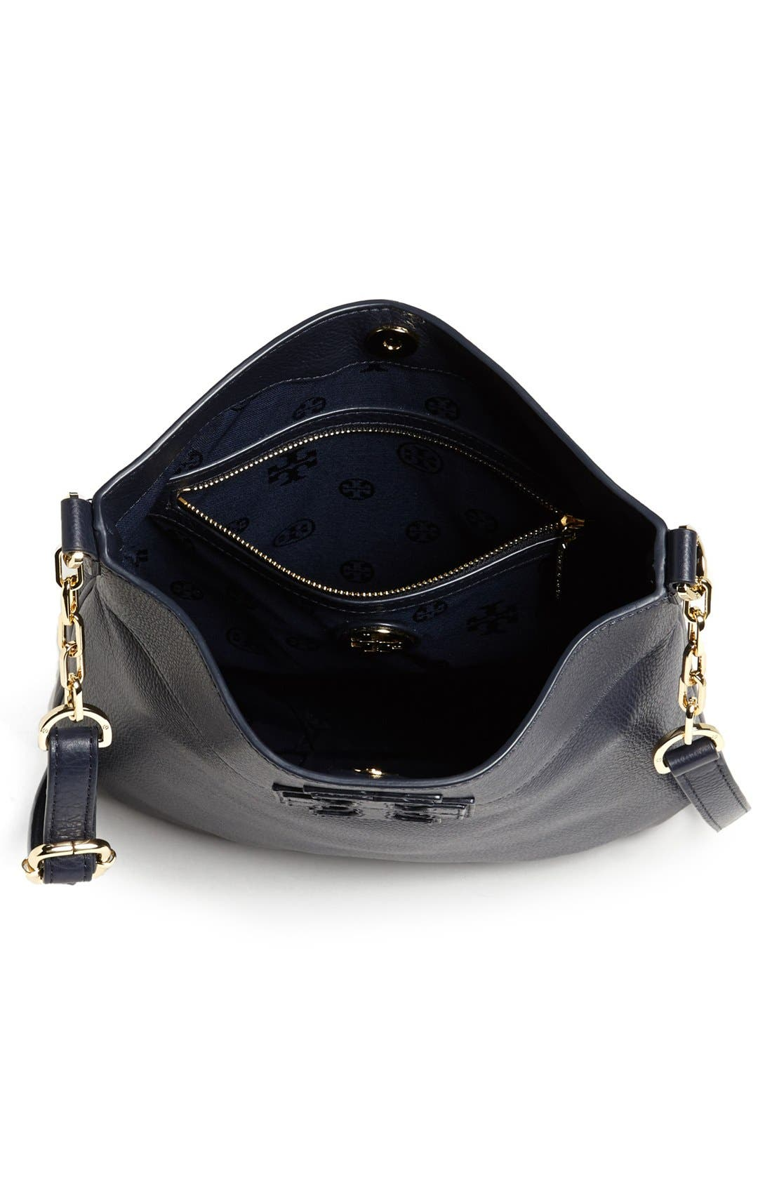 'Stacked T' Leather Book Bag,                             Alternate thumbnail 3, color,                             Tory Navy