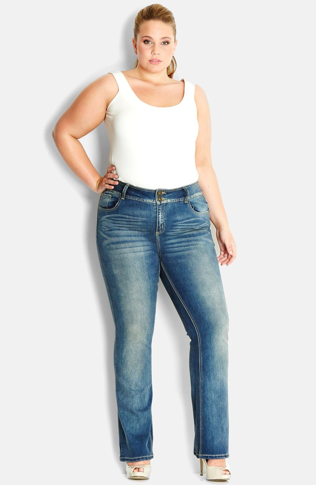 Alternate Image 1 Selected - City Chic Soft Wash Bootcut Jeans (Mid Denim) (Plus Size)