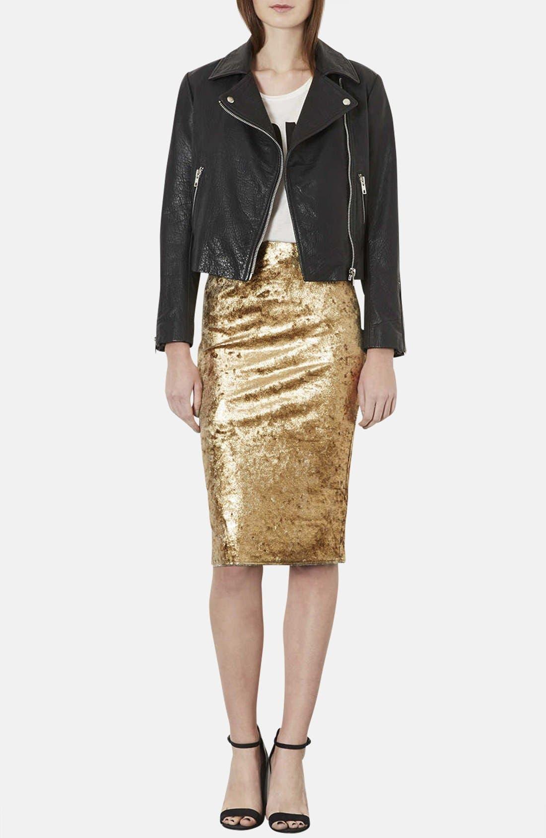 Alternate Image 4  - Topshop Metallic Foil Velvet Tube Skirt