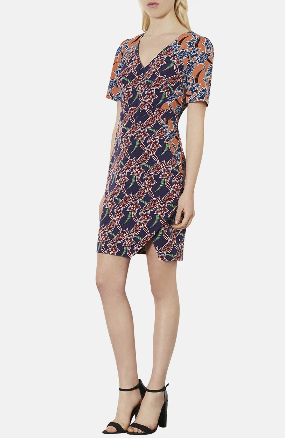Alternate Image 1 Selected - Topshop 'Cocktail Mix' Tropical Print Tea Dress