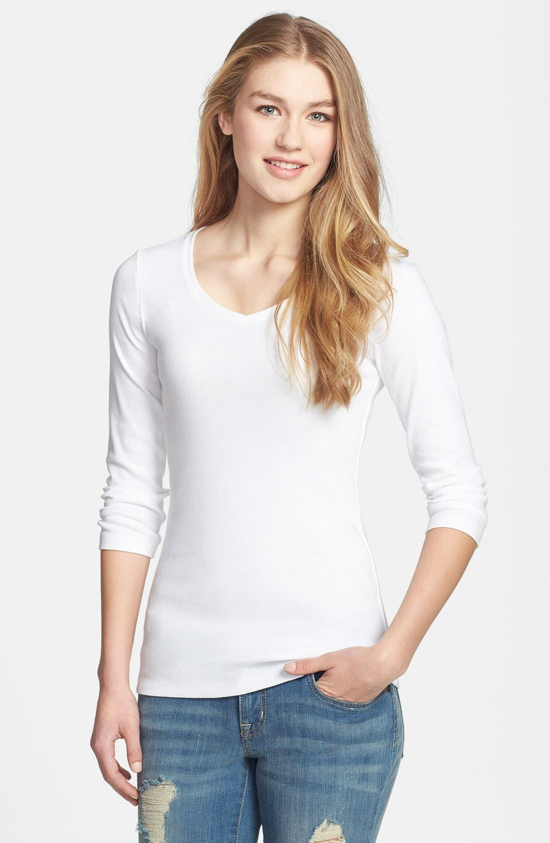 Main Image - Caslon® Three Quarter Sleeve V-Neck Tee (Regular & Petite)
