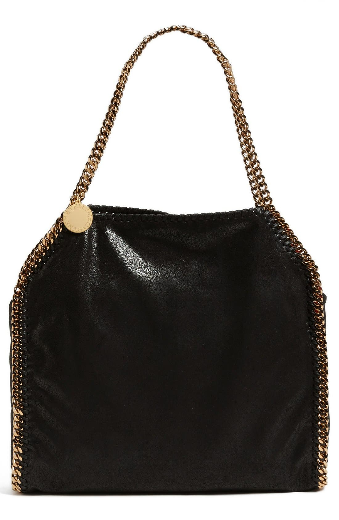'Small Falabella - Shaggy Deer' Faux Leather Tote,                             Main thumbnail 1, color,                             Black