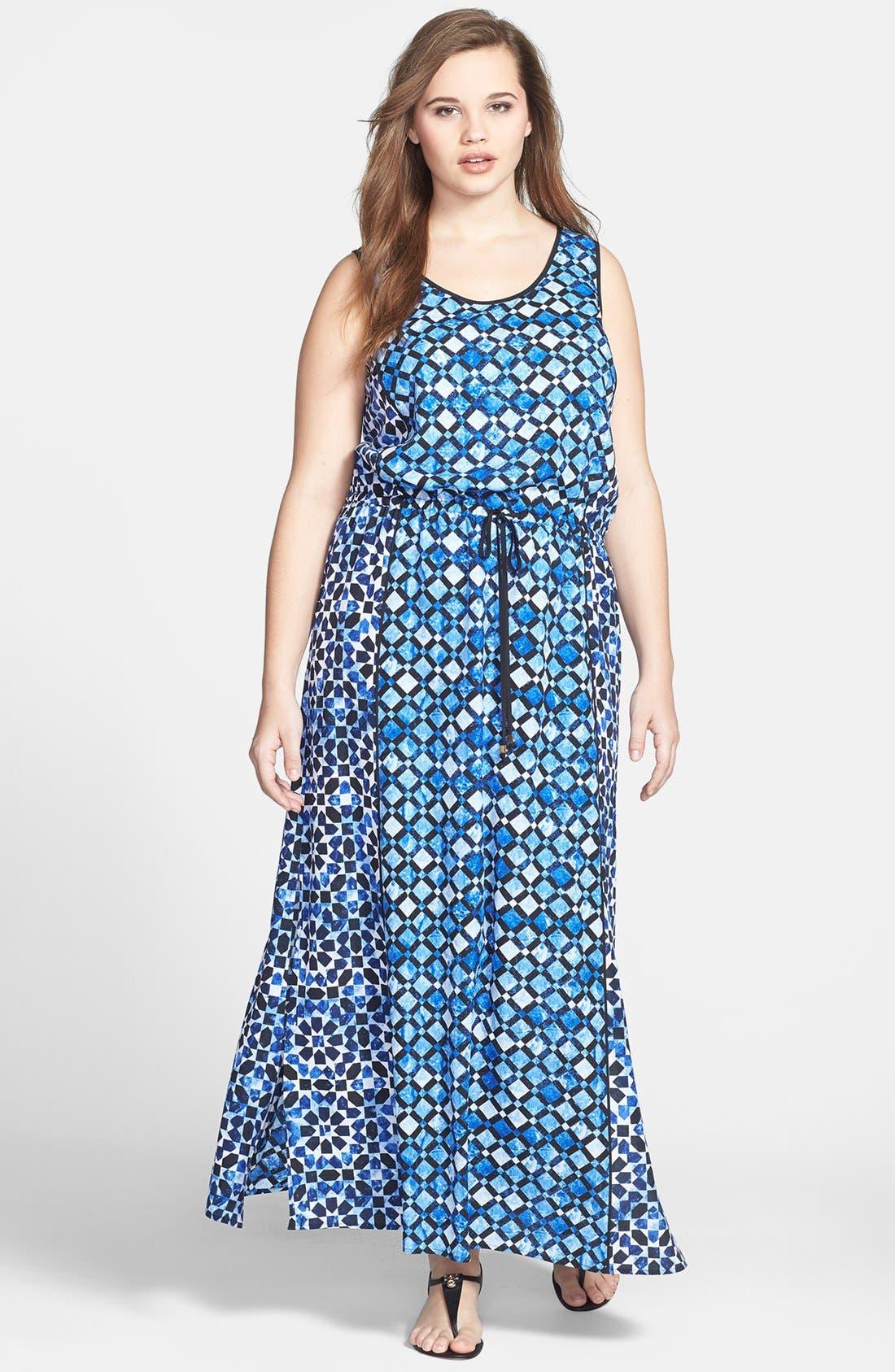 Alternate Image 1 Selected - MICHAEL Michael Kors Print Maxi Dress (Plus Size)