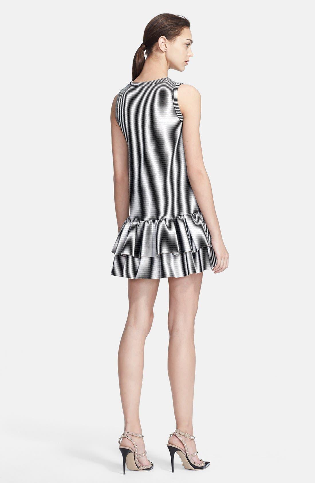 Alternate Image 2  - RED Valentino Neoprene Ruffled Stripe Dress