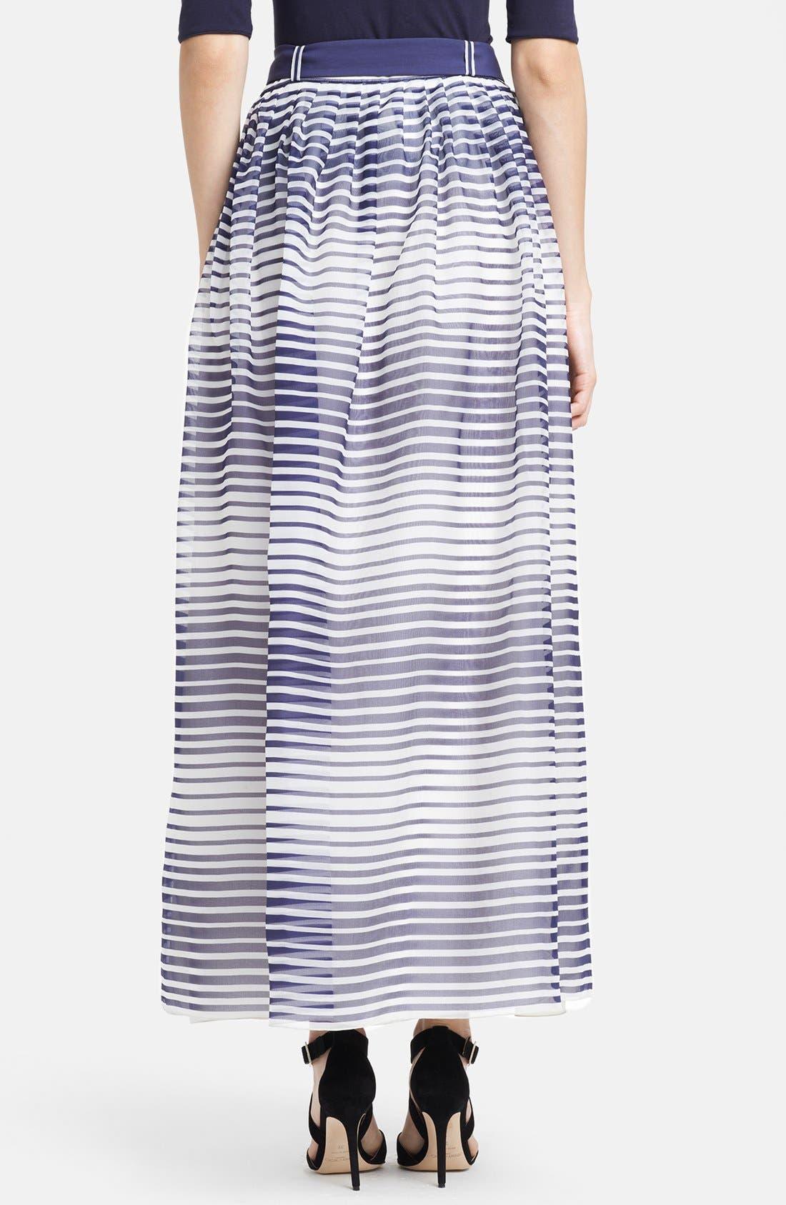 Alternate Image 2  - Armani Collezioni Stripe Silk Organza Maxi Skirt