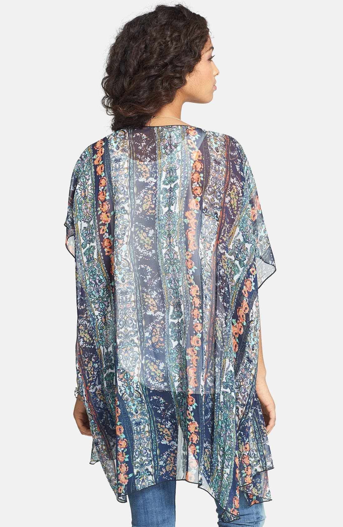 Alternate Image 2  - Band of Gypsies Print Chiffon Kimono Jacket (Juniors)