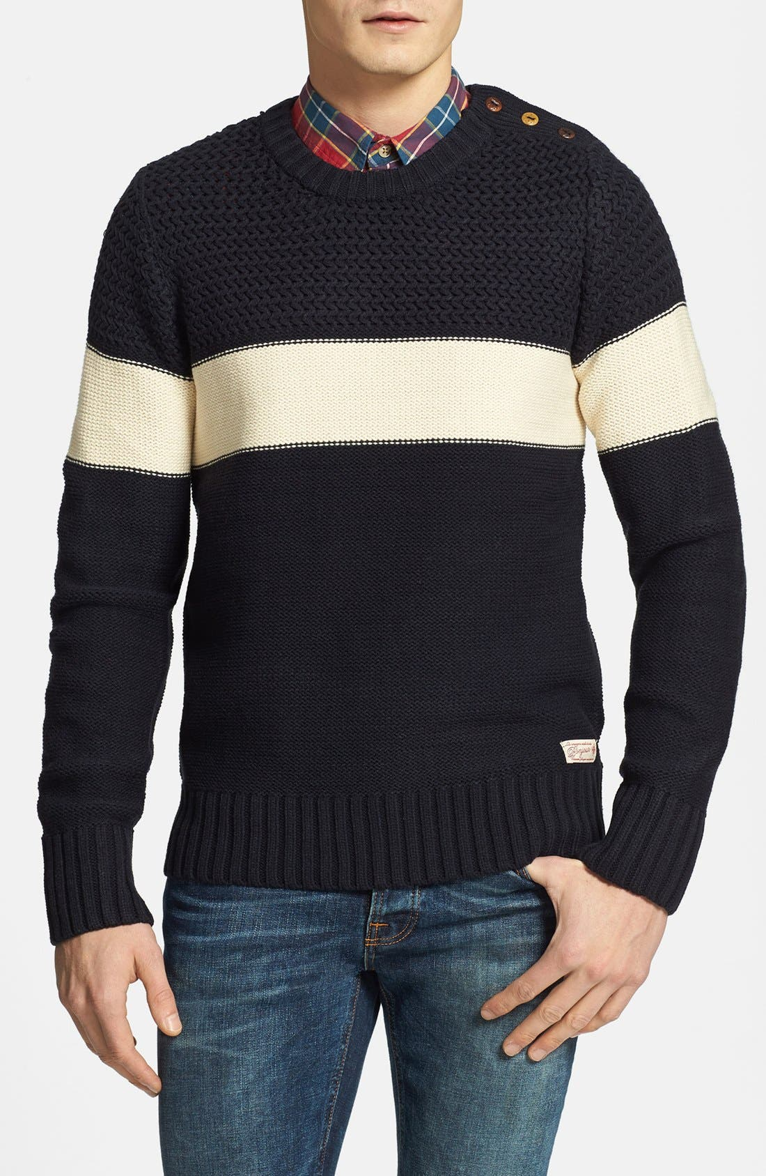 Alternate Image 1 Selected - Scotch & Soda Cable Knit Stripe Crewneck Sweater