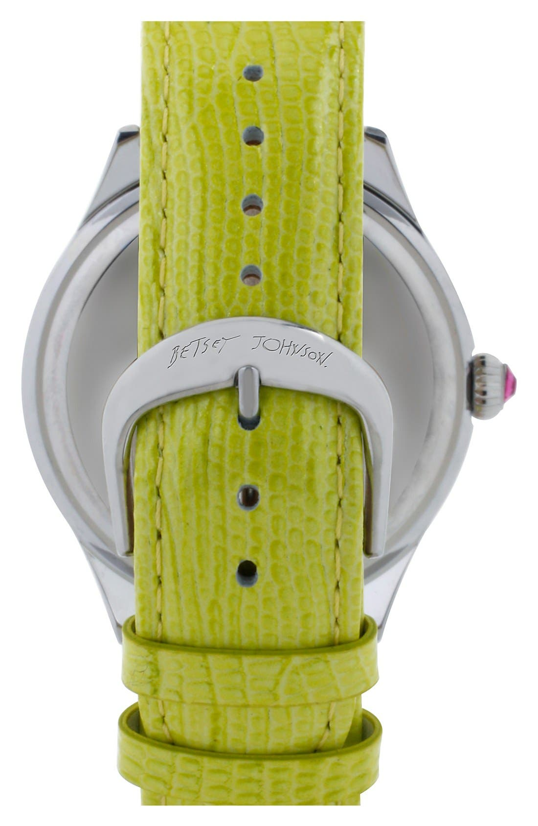 Alternate Image 2  - Betsey Johnson Pavé Dial Round Leather Strap Watch, 42mm