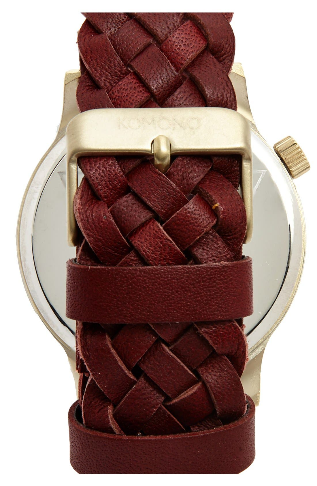 Alternate Image 2  - Komono 'Winston' Round Dial Woven Leather Strap Watch, 40mm