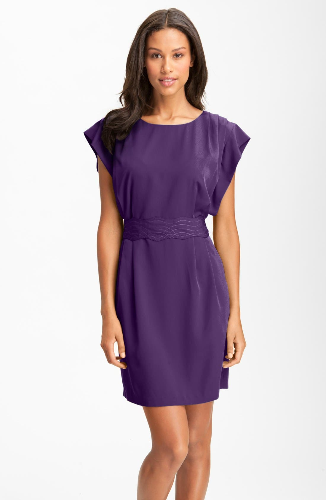 Alternate Image 1 Selected - Eliza J Drape Sleeve Sash Belt Dress