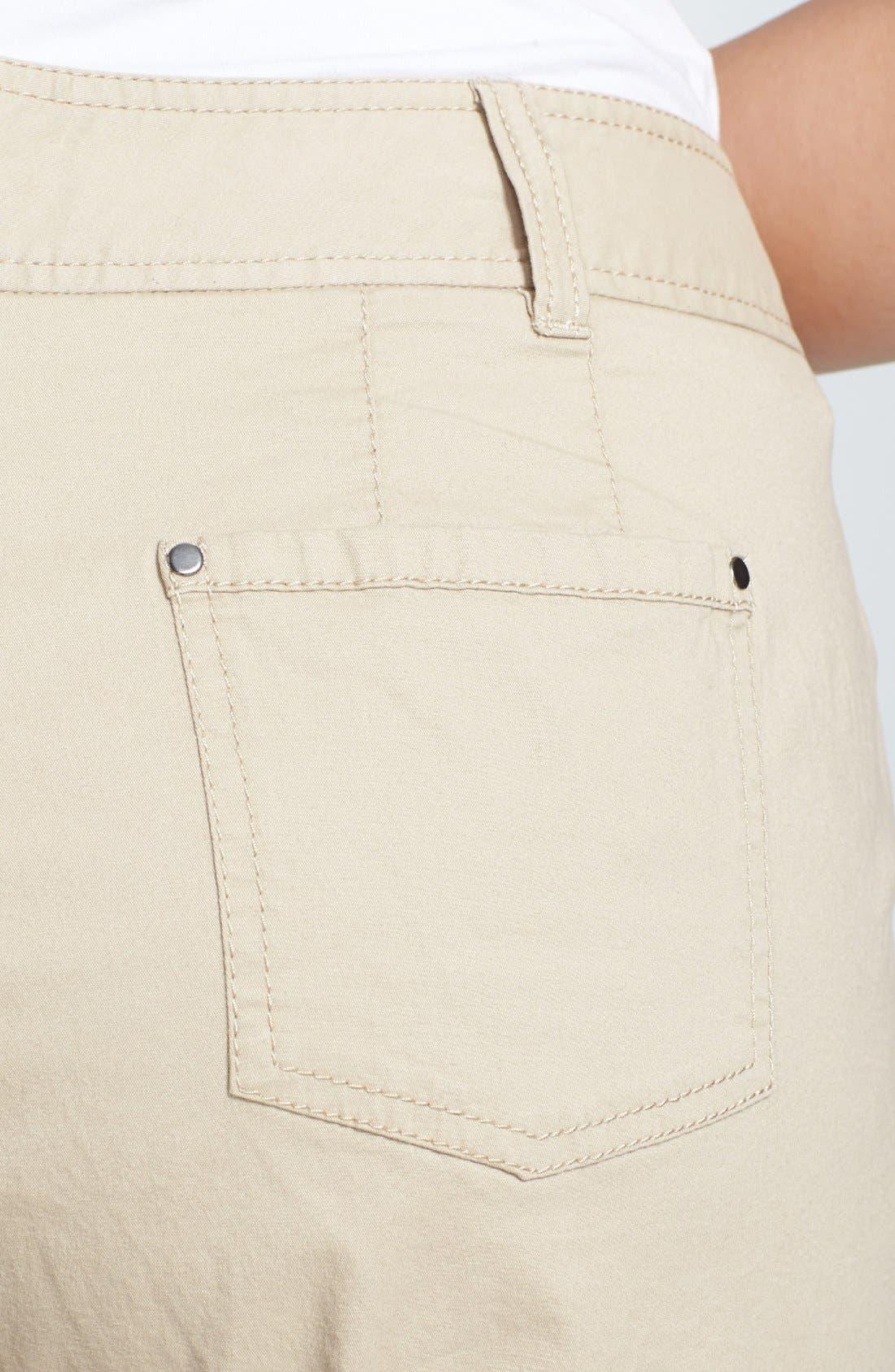 Alternate Image 3  - Sejour 'Megan' Stretch Cotton Crop Pants (Plus Size)