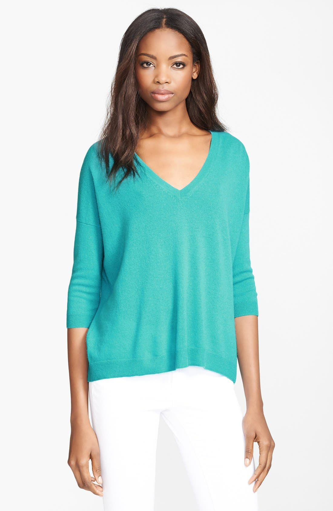 Alternate Image 1 Selected - autumn cashmere Pleat Back Zip Cashmere Sweater