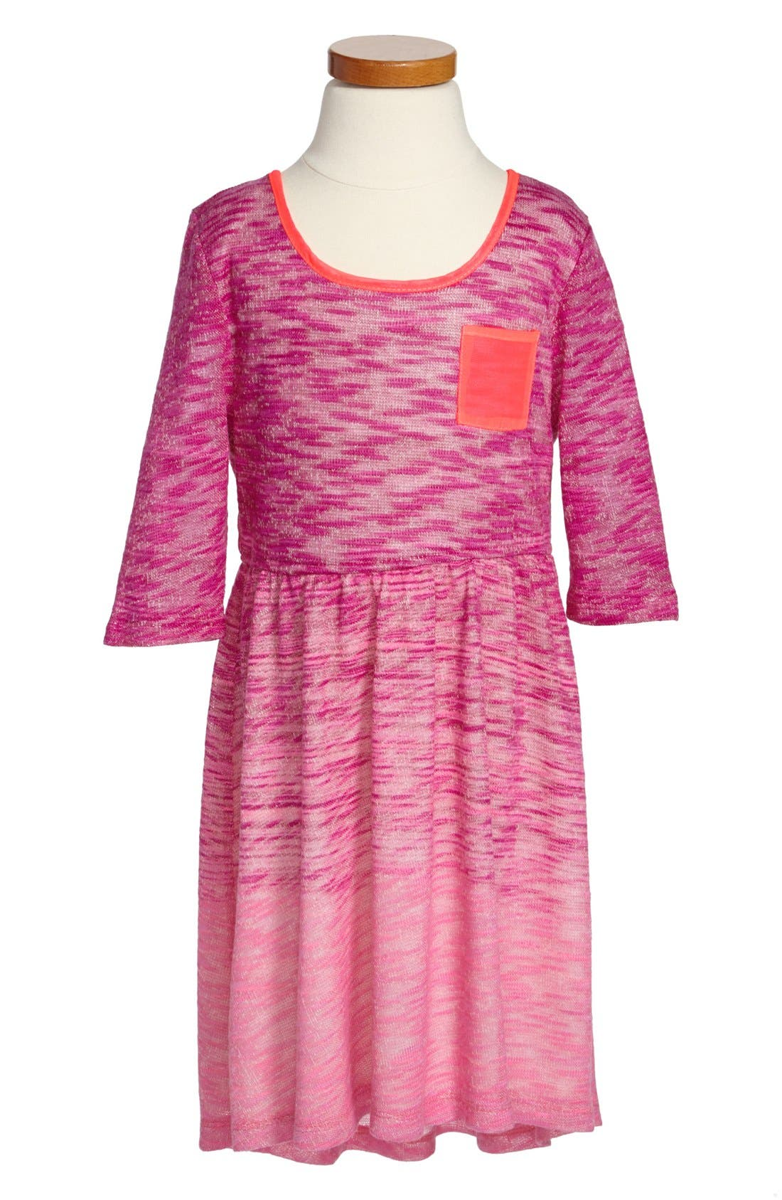 Alternate Image 1 Selected - W Girl Patch Pocket Ombré Dress (Little Girls & Big Girls)