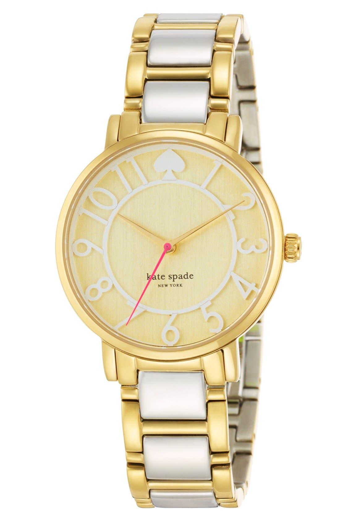 Alternate Image 4  - kate spade new york 'gramercy' round bracelet watch, 34mm