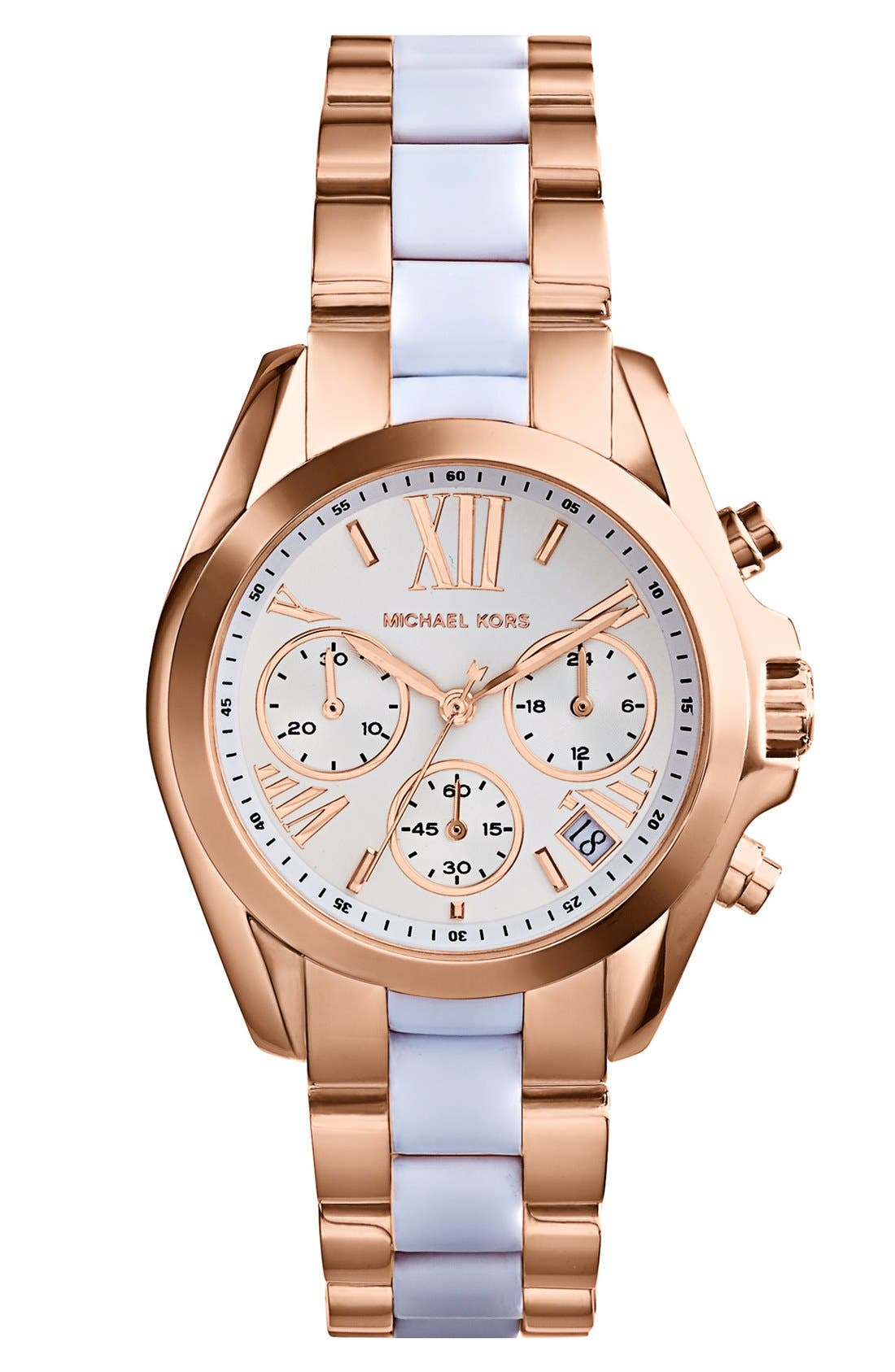 Alternate Image 1 Selected - Michael Kors 'Bradshaw - Mini' Chronograph Resin Link Bracelet Watch, 36mm