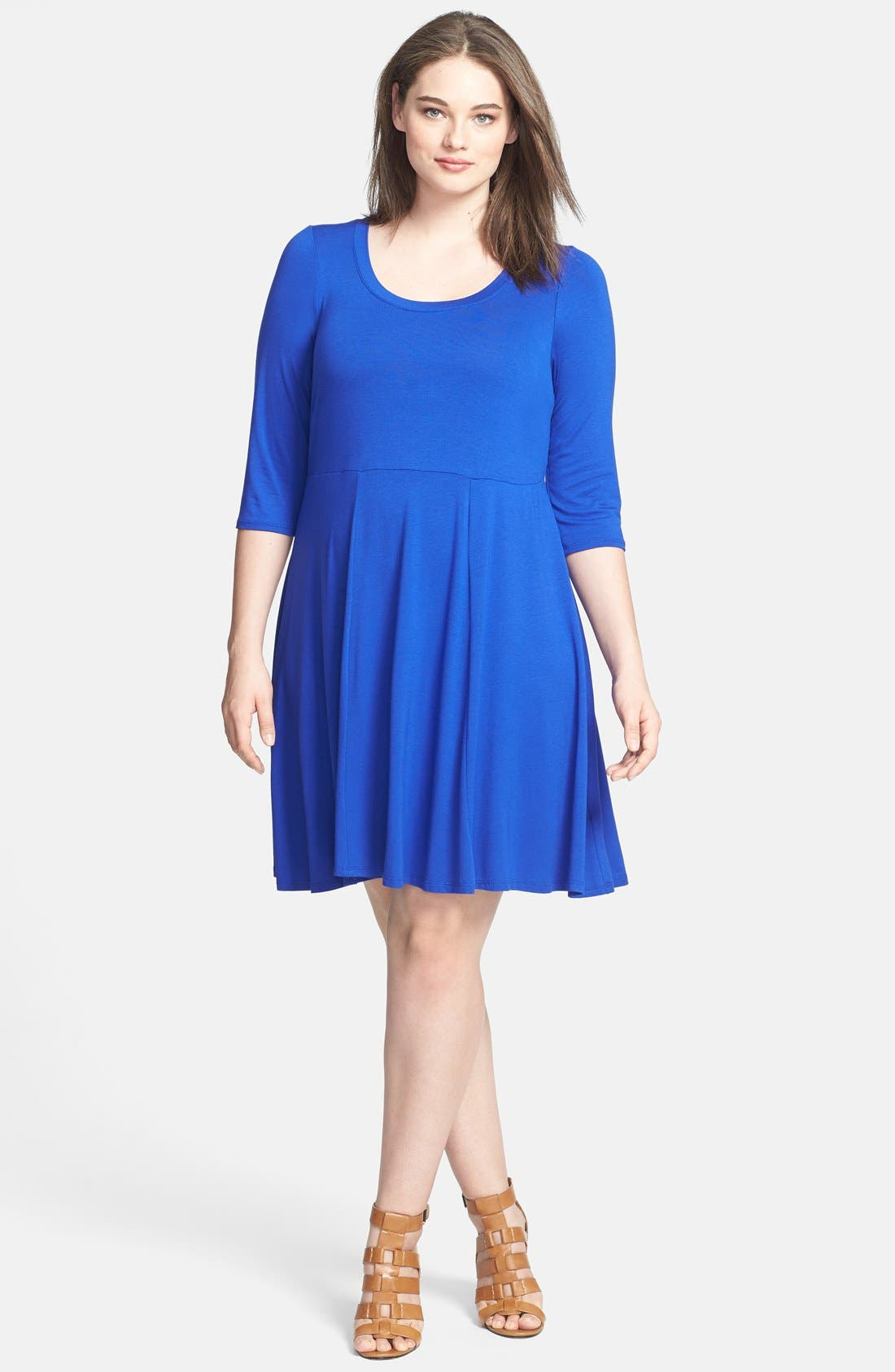 Alternate Image 1 Selected - Evans Fit & Flare Dress (Plus Size)