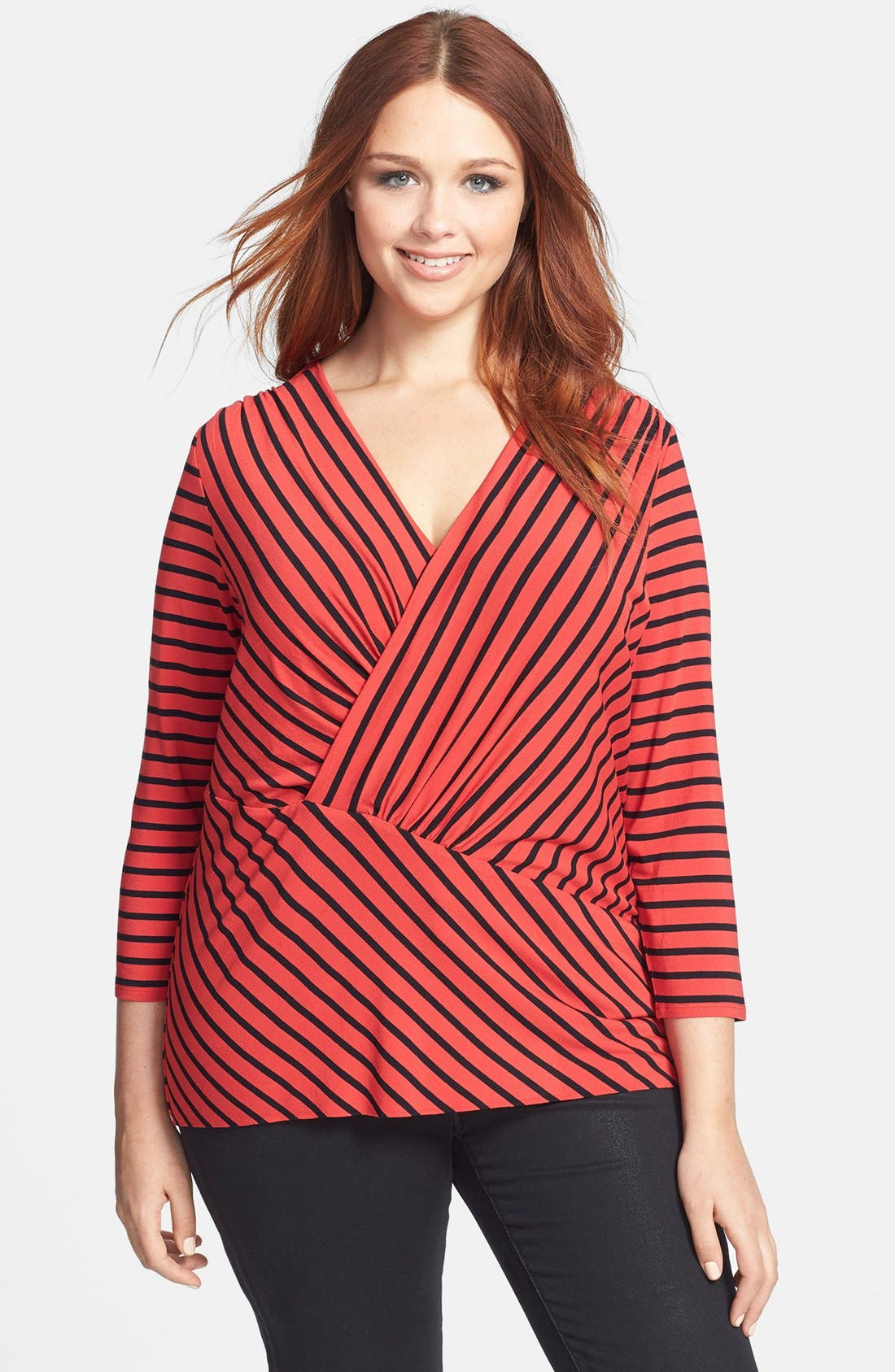 Alternate Image 1 Selected - Vince Camuto 'Retro Stripes' Asymmetrical Tunic (Plus Size)
