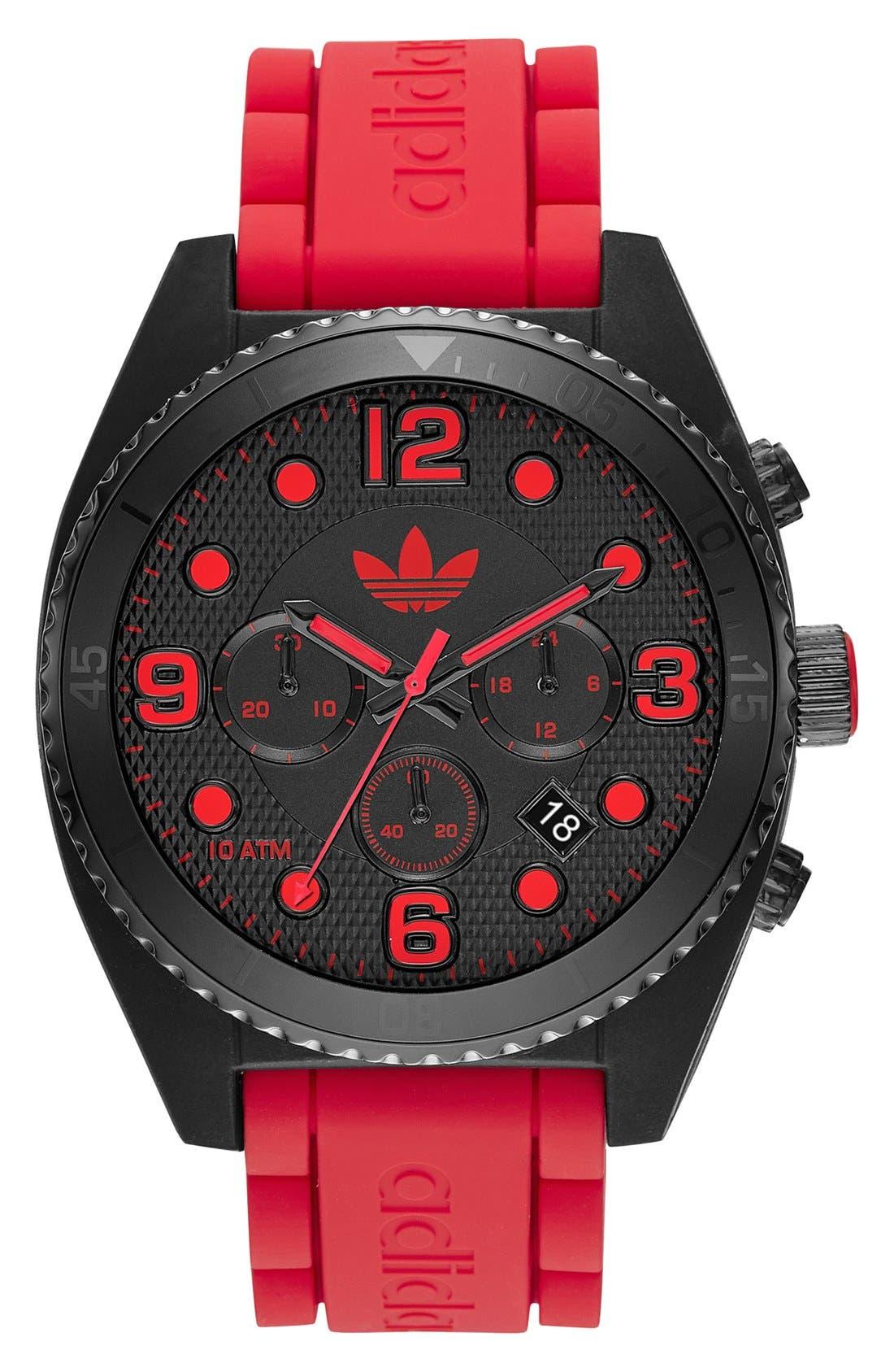 Alternate Image 1 Selected - adidas Originals 'Brisbane' Chronograph Silicone Strap Watch, 47mm