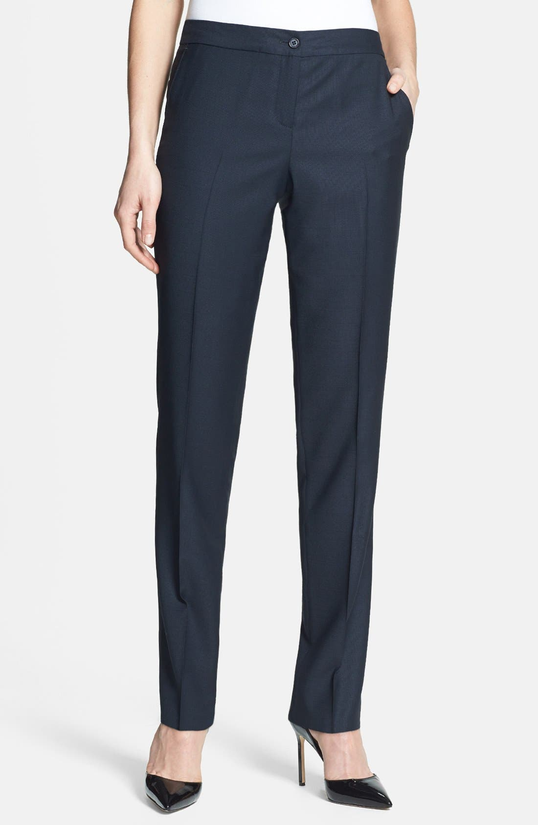 Alternate Image 1 Selected - Santorelli Slim Leg Wool Pants