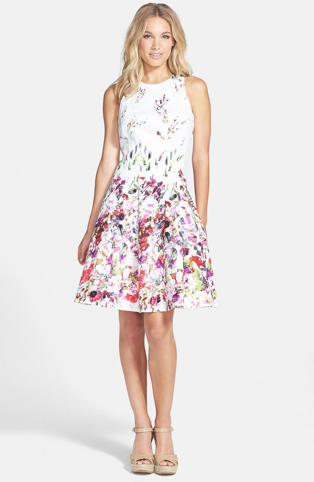 Maggy London Print Stretch Cotton Fit Amp Flare Dress
