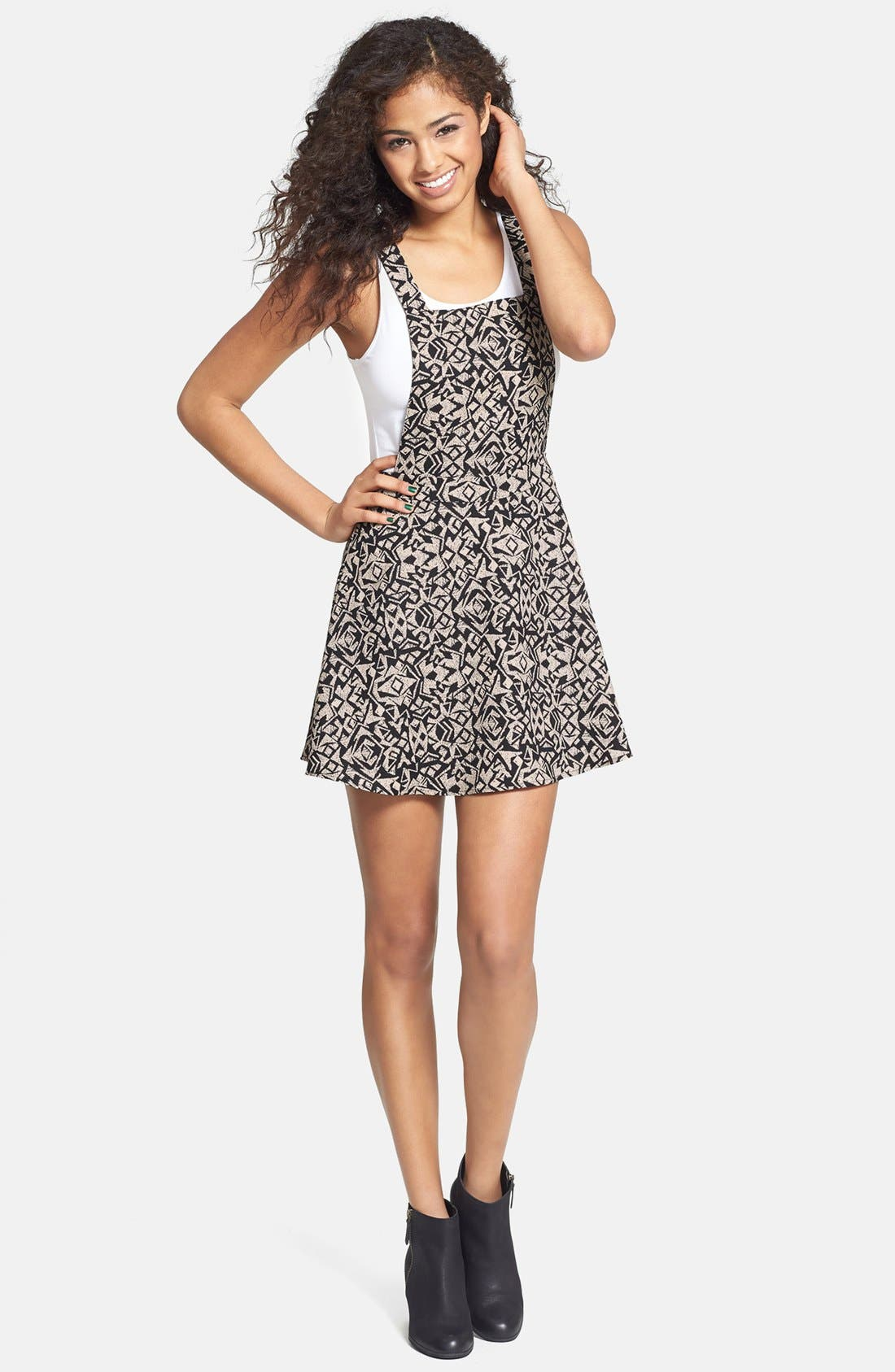 Alternate Image 1 Selected - Lush Print Pinafore Dress (Juniors)