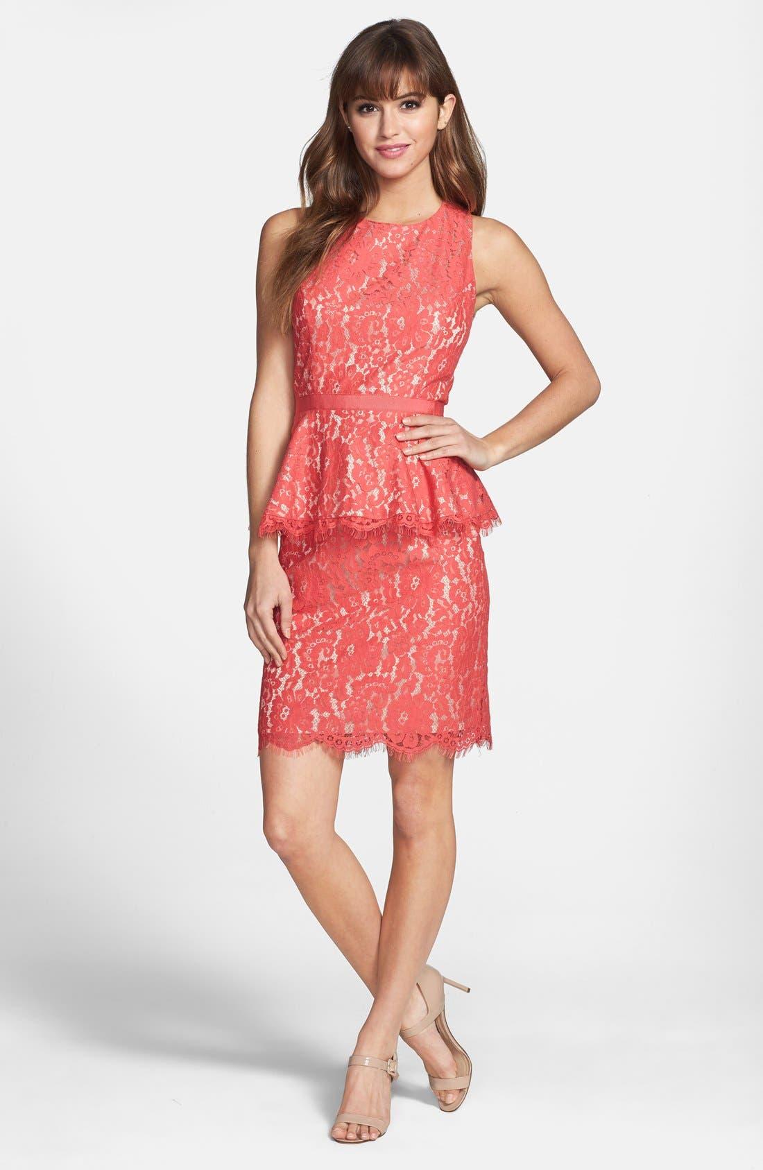 Alternate Image 3  - Eliza J Lace Peplum Sheath Dress (Regular & Petite)