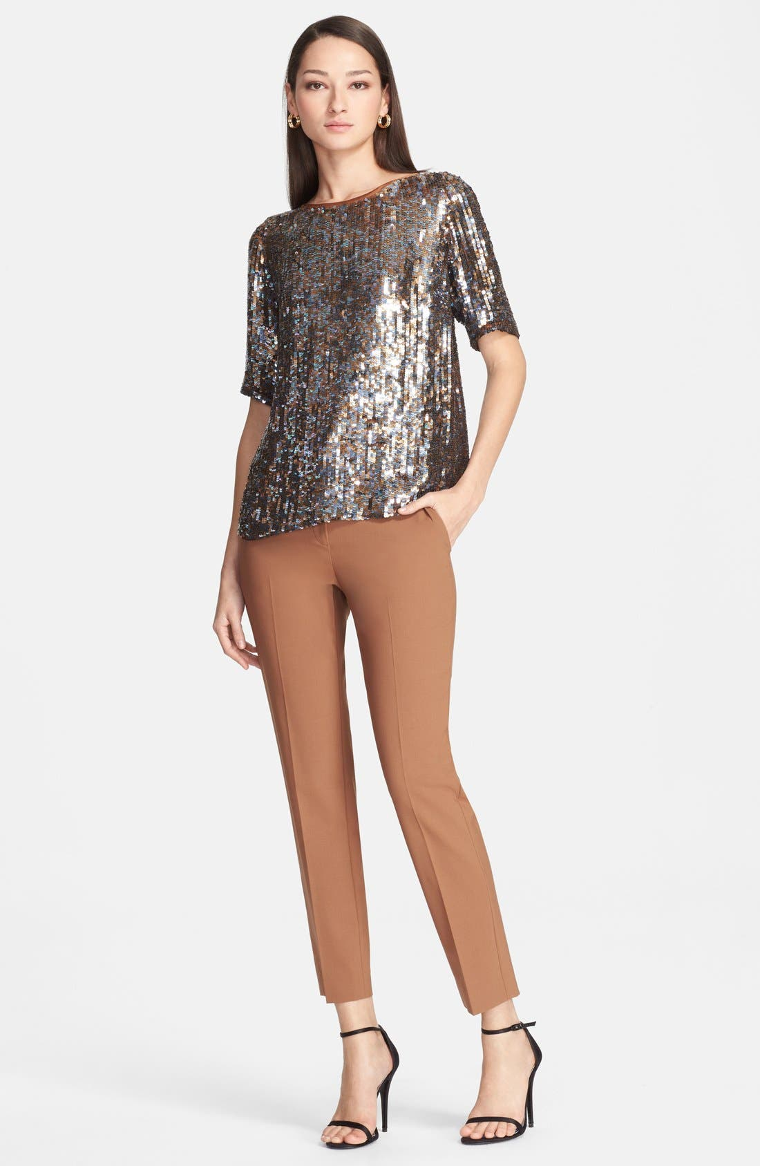 Main Image - St. John Collection Embroidered Sequin Crop Shirt