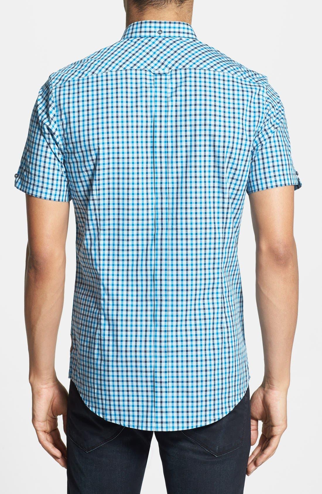 Check Woven Shirt,                             Alternate thumbnail 2, color,                             Porcelain Blue