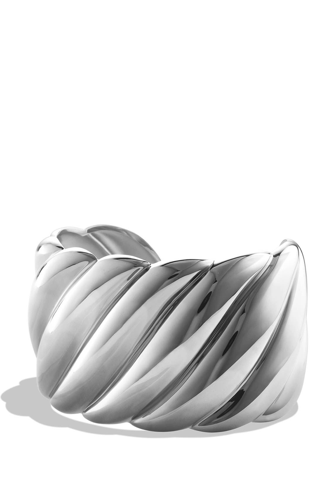 'Sculpted Cable' Wide Cuff,                         Main,                         color, Silver