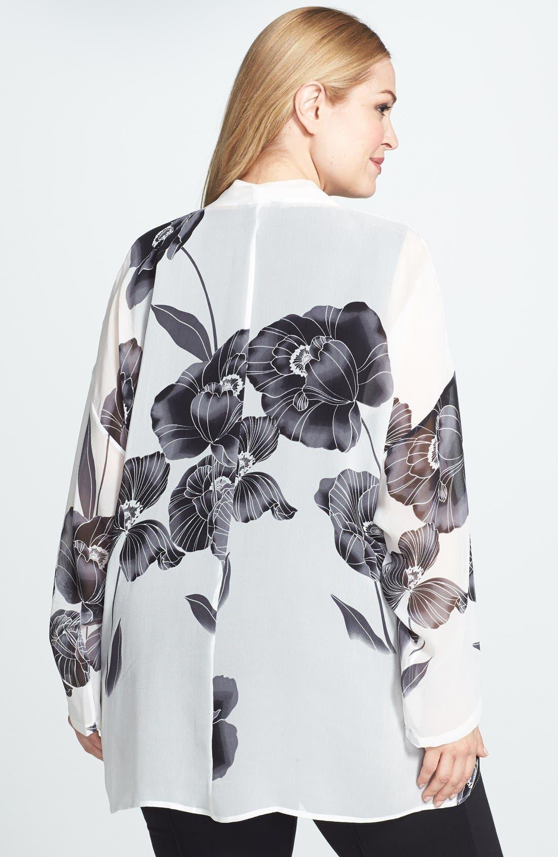 Alternate Image 2  - Citron Floral Print Drape Front Jacket (Plus Size)