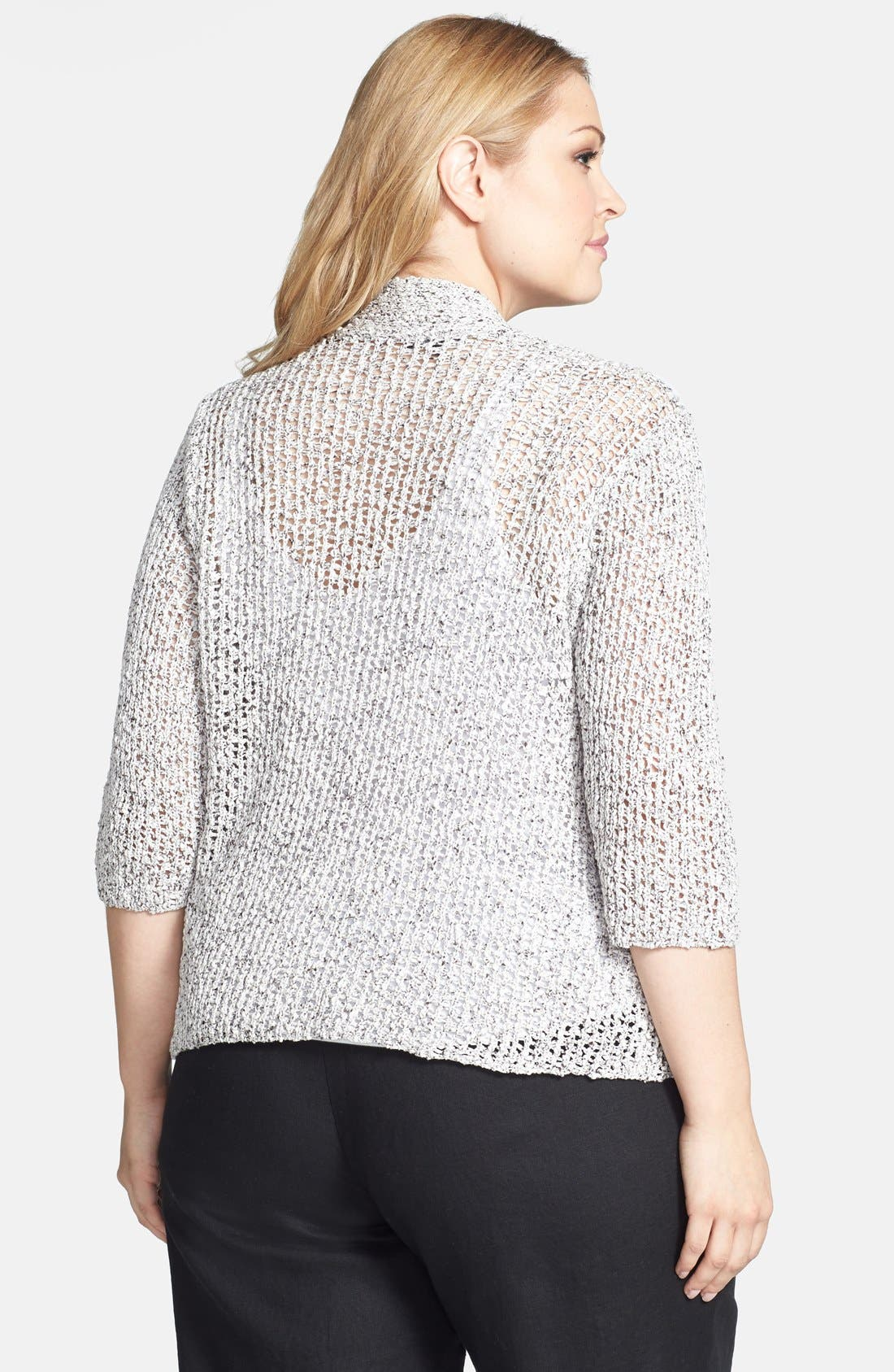 Alternate Image 2  - Eileen Fisher Open Weave Cardigan (Plus Size)