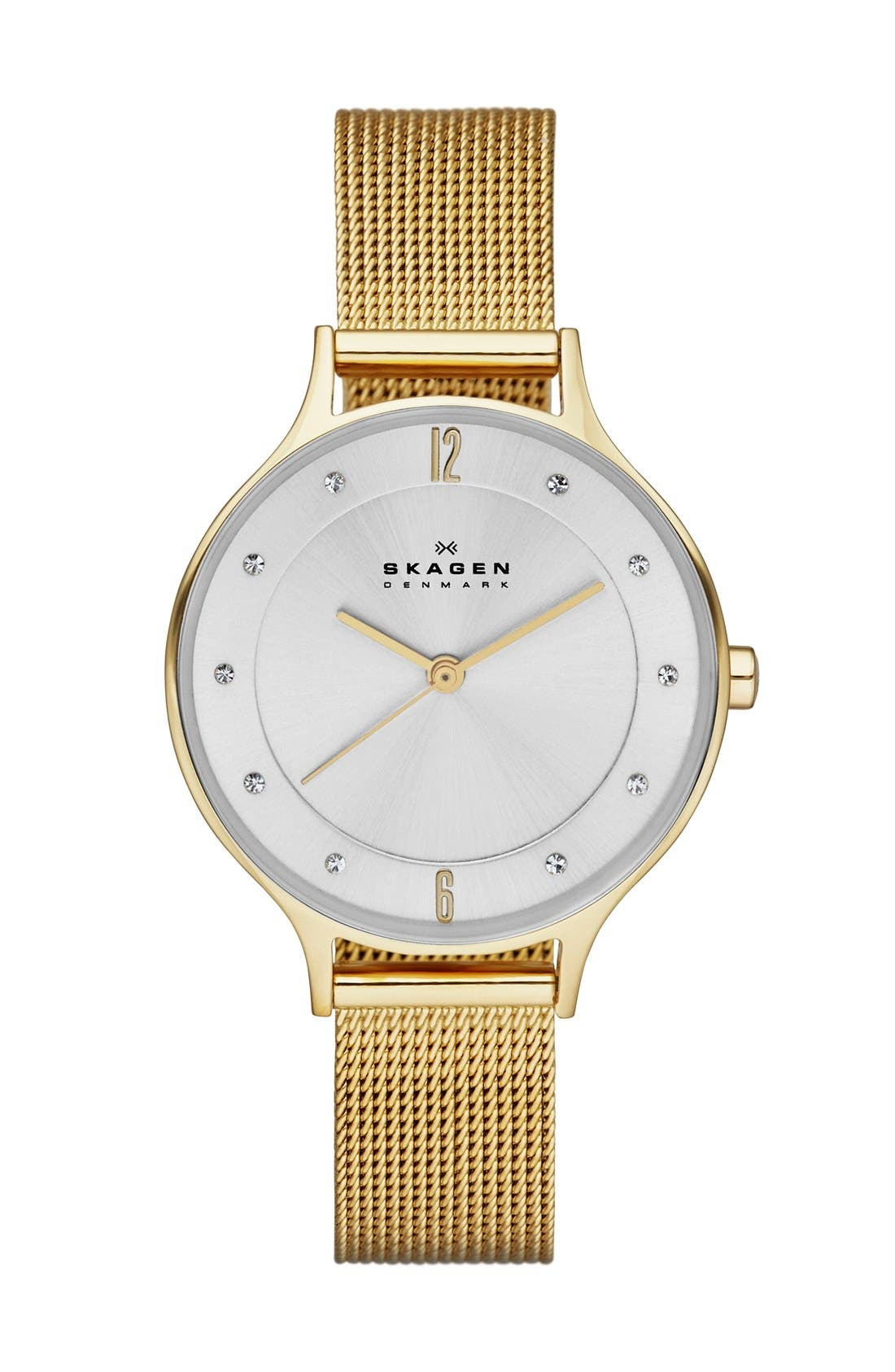 'Anita' Crystal Index Mesh Strap Watch, 30mm,                         Main,                         color, Gold