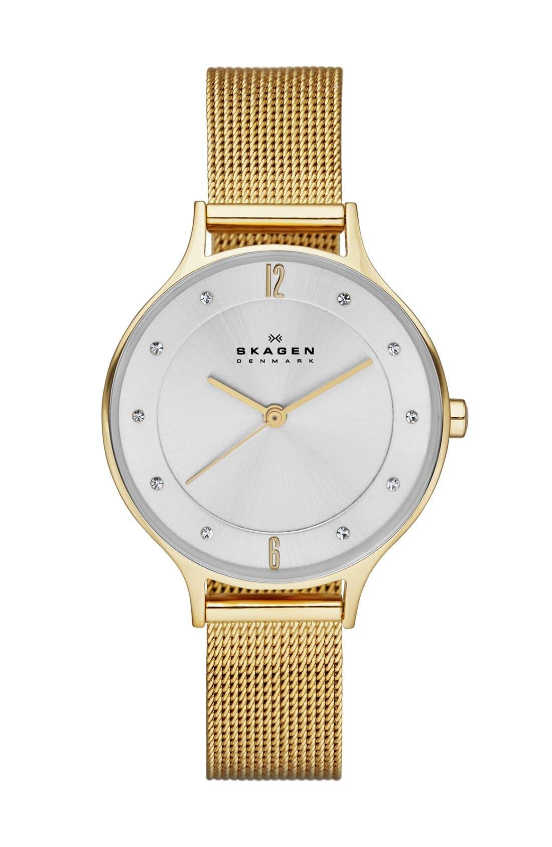 'Anita' Crystal Index Mesh Strap Watch, 30mm,                         Main,                         color, Gold