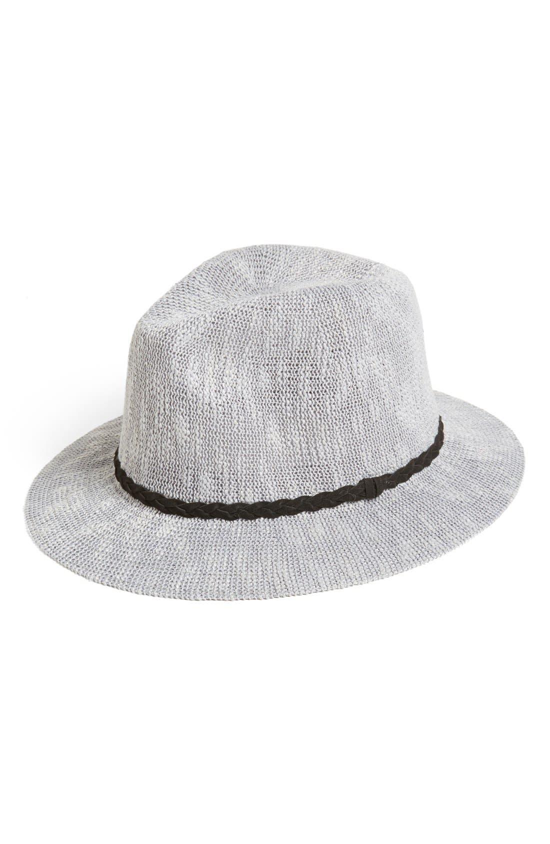 Main Image - BP. 'Panama' Slub Knit Fedora (Juniors) (Online Only)