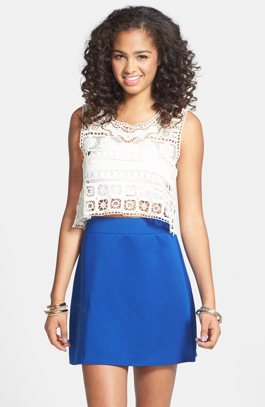 Alternate Image 1 Selected - Frenchi® Knit A-Line Skirt (Juniors)