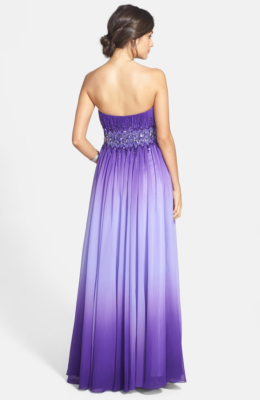 Alternate Image 2  - Sean Collection Beaded Waist Strapless Ball Gown