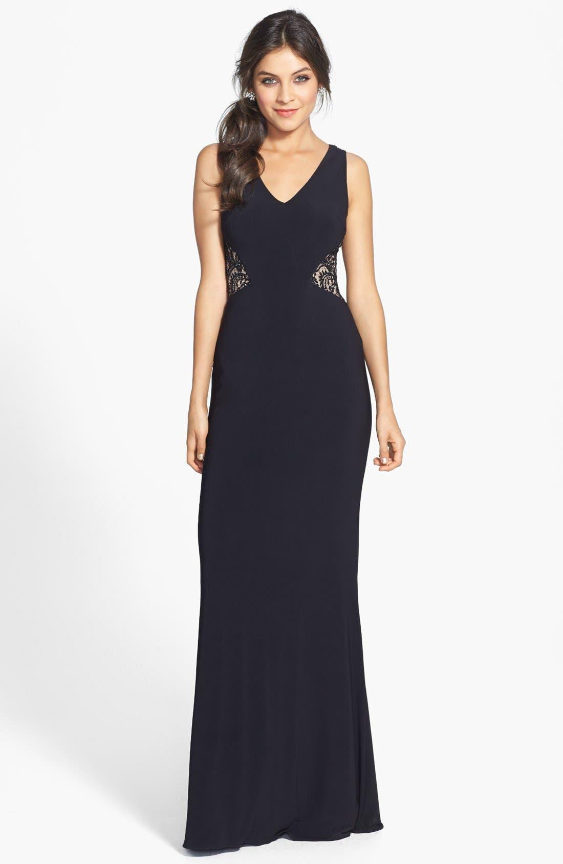Alternate Image 1 Selected - JS Boutique Lace Back V-Neck Matte Jersey Gown
